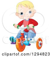 Happy Blond Haired Blue Eyed White Boy Riding A Trike