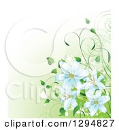 Clipart Of A Easter Lily Flowers And Vines Over Gradient Green And White Grunge Splatters Royalty Free Vector Illustration