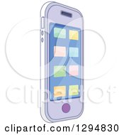 Clipart Of A Cell Phone With App Buttons Tilted Right Royalty Free Vector Illustration
