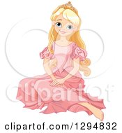 Clipart Of A Happy Blond Blue Eyed Caucasian Princess Sitting On The Floor In A Pink Dress Royalty Free Vector Illustration