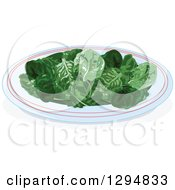 Clipart Of A Plate Of Baby Spinach Leaves Royalty Free Vector Illustration by Pushkin