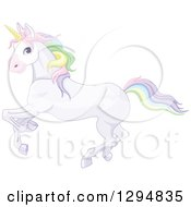 Running White Unicorn With Rainbow Colored Hair