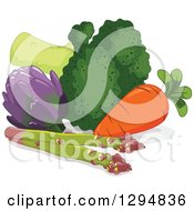 Clipart Of A Still Life Of Asparagus Carrot Broccoli And Artichoke Royalty Free Vector Illustration