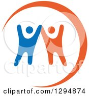 Clipart Of Blue White And Orange Couple Dancing Or Cheering Royalty Free Vector Illustration by Vector Tradition SM