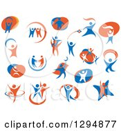 Clipart Of White Blue And Orange People Royalty Free Vector Illustration