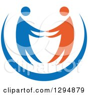 Clipart Of A Blue And Orange Couple Holding Hands Or Dancing Royalty Free Vector Illustration by Vector Tradition SM