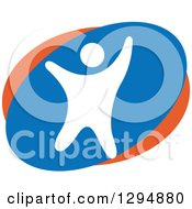 Clipart Of A White Blue And Orange Person Dancing Or Cheering Royalty Free Vector Illustration