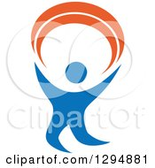 Clipart Of A Blue And Orange Person Dancing Or Cheering 3 Royalty Free Vector Illustration