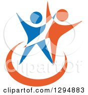 Clipart Of Blue White And Orange Couple Dancing Or Cheering 2 Royalty Free Vector Illustration by Vector Tradition SM