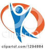 Clipart Of A Blue And Orange Person Dancing Or Cheering 4 Royalty Free Vector Illustration