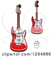 Clipart Of A Face And Shiny Red And White Electric Guitars Royalty Free Vector Illustration