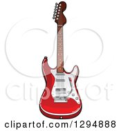 Clipart Of A Shiny Red And White Electric Guitar Royalty Free Vector Illustration by Vector Tradition SM