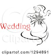 Clipart Of A Sketched Black And White Bride Holding A Bouquet Of Flowers With Red Text 5 Royalty Free Vector Illustration