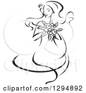 Clipart Of A Sketched Black And White Bride Holding A Bouquet Of Flowers Royalty Free Vector Illustration