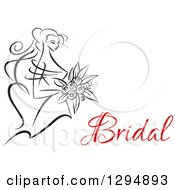 Clipart Of A Sketched Black And White Bride Holding A Bouquet Of Flowers With Red Text 3 Royalty Free Vector Illustration