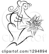 Clipart Of A Sketched Black And White Bride Holding A Bouquet Of Flowers And Facing Right Royalty Free Vector Illustration
