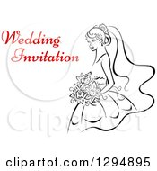 Clipart Of A Sketched Black And White Bride Holding A Bouquet Of Flowers With Red Text 2 Royalty Free Vector Illustration