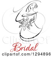 Clipart Of A Sketched Black And White Bride Holding A Bouquet Of Flowers With Red Text 4 Royalty Free Vector Illustration