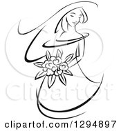 Clipart Of A Sketched Black And White Bride Holding A Bouquet Of Flowers And Facing Left 3 Royalty Free Vector Illustration