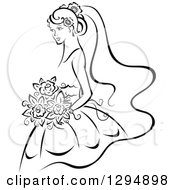 Clipart Of A Sketched Black And White Bride Holding A Bouquet Of Flowers And Facing Left 2 Royalty Free Vector Illustration