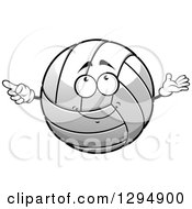 Clipart Of A Grayscale Volleyball Character Cartoon Royalty Free Vector Illustration