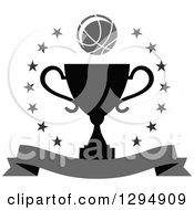 Clipart Of A Grayscale Basketball Over A Black Trophy In A Circle Of Stars With A Blank Banner Royalty Free Vector Illustration
