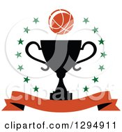 Clipart Of A Basketball Over A Black Trophy In A Circle Of Stars With A Blank Banner Royalty Free Vector Illustration
