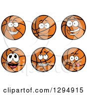 Clipart Of Goofy And Happy Cartoon Basketball Characters Royalty Free Vector Illustration
