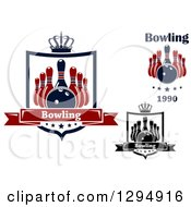 Clipart Of Bowling Ball And Pin Designs With Text Royalty Free Vector Illustration