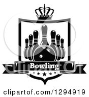 Clipart Of A Black And White Bowling Ball And Pins In A Shield With A Crown Stars And Text Banner Royalty Free Vector Illustration