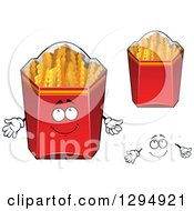 Clipart Of A Face And Boxes Of Crinkle French Fries Royalty Free Vector Illustration by Vector Tradition SM