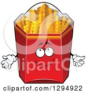 Clipart Of A Happy Box Of Crinkle French Fries Character Royalty Free Vector Illustration by Vector Tradition SM