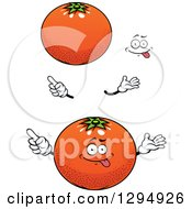 Clipart Of A Cartoon Face Hands And Navel Oranges Royalty Free Vector Illustration