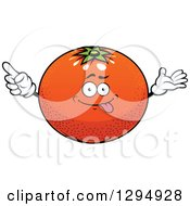 Clipart Of A Cartoon Goofy Navel Orange Character Royalty Free Vector Illustration