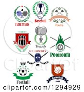 Clipart Of Ping Pong Baseball Darts Bowling Tennis Billiards Ice Hockey Football Soccer And Basketball Sports Designs With Text Royalty Free Vector Illustration