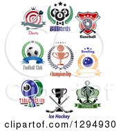 Clipart Of Dart Billiards Baseball Soccer Basketball Bowling Ping Pong Ice Hockey And Tennis Sports Designs With Text Royalty Free Vector Illustration