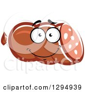 Clipart Of A Happy Ham Or Sausage Character Royalty Free Vector Illustration