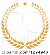 Clipart Of An Orange Laurel Wreath With A Star Royalty Free Vector Illustration by Vector Tradition SM