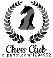 Clipart Of A Silhouetted Black And White Chess Knight Horse Head In A Wreath Over Text Royalty Free Vector Illustration