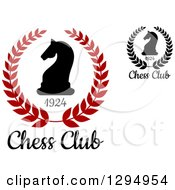 Clipart Of Silhouetted Chess Knight Horse Heads In Wreaths Royalty Free Vector Illustration