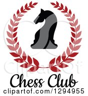 Clipart Of A Silhouetted Chess Knight Horse Head In A Red Wreath Over Text Royalty Free Vector Illustration