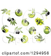 Clipart Of Black And Green Olive Designs And Oil Royalty Free Vector Illustration