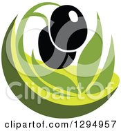 Clipart Of A Black Olive Design With Green Royalty Free Vector Illustration