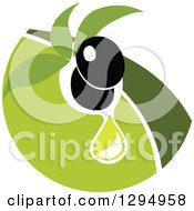 Clipart Of A Black Olive Design With Green 2 Royalty Free Vector Illustration