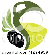 Clipart Of A Black Olive Design With Green 3 Royalty Free Vector Illustration