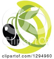 Clipart Of A Black Olive Design With Green 4 Royalty Free Vector Illustration
