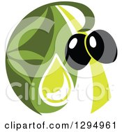 Clipart Of A Black Olive Design With Green 5 Royalty Free Vector Illustration
