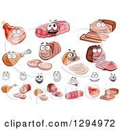 Clipart Of Meat Characters And Faces 2 Royalty Free Vector Illustration