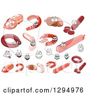 Clipart Of Meat Characters And Faces Royalty Free Vector Illustration