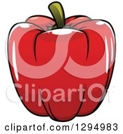 Clipart Of A Cartoon Red Bell Pepper Royalty Free Vector Illustration